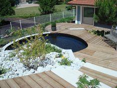 Construction De Terrasse En Bois Et Muret Jardin Annemasse Avec Bassin