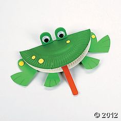 Paper Plate frog to go with The Big Wide Mouth Frog.