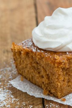 The BEST pumpkin pie cake ever! Mom's recipes are truly everyone's favorites and we couldn't wait to share with you this one!