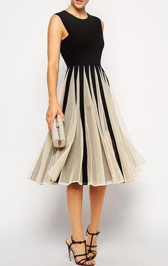 vestido plisada sin manga gasa combinado-negro 15.04