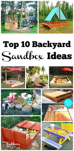 Backyard sandboxes are amazing outdoor sensory play spaces. You will find more than 10 homemade sandbox ideas for kids complete with plans that have directions on how to make an outdoor sandbox. Tips, tutorials, and hacks for every type of sandbox can be