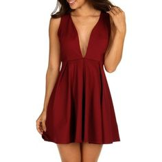 Burgundy Pleat and Flare Skater Dress