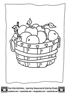 Basket of Apples Farm Stand Coloring Sheet, free printable for ...