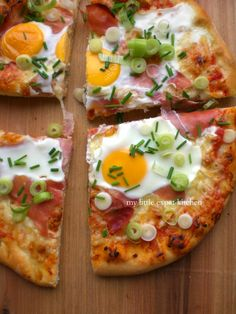 Pizza with Gruyère Cheese, Ham, Eggs and Spring Onions by My Little Expat Kitchen