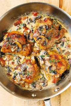 Chicken and Mushrooms with a Creamy Herb Sauce - moist and tender chicken thighs with crispy skin! Order some thighs here: https://www.zayconfresh.com/products/?utm_source=pinterest.com&utm_medium=zaycon&utm_term=8242015&utm_content=post&utm_campaign=139