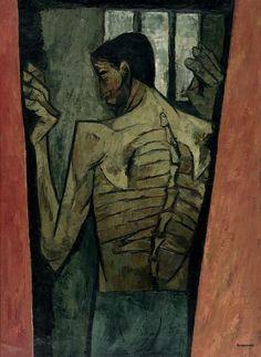 Oswaldo Guayasamín (1916-1999), EL PRISIONERO (DE LA SÉRIE HUACAYÑÁN, TEMA INDIO)