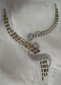 Trim scoop neckline gold swirl rhinestone iron on applique hot fix transfer Zardosi Embroidery, Embroidery On Kurtis, Hand Embroidery Dress, Kurti Embroidery Design, Embroidery Neck Designs, Bead Embroidery Patterns, Embroidery Works, Embroidery Suits, Gold Embroidery