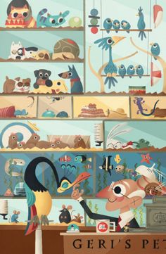 Geri's Pet Store -a reference from each pixar film or unique short (ones not based on a main feature) up until Spring 2011. Illustrated by Andrew Kolb