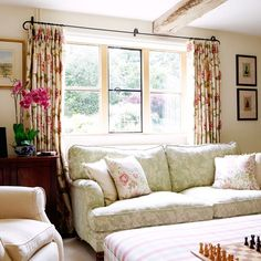 Raspberry and soft green living room   Living room   PHOTO GALLERY   Country Homes and Interiors   Housetohome.co.uk