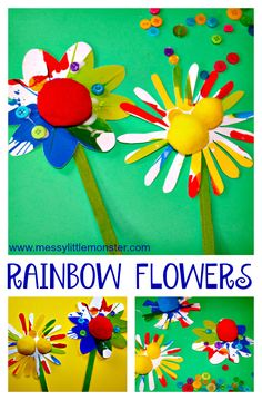 Rainbow spin art flowers. An easy Spring or Summer craft for kids. Toddlers and preschoolers will love this fun painting idea.