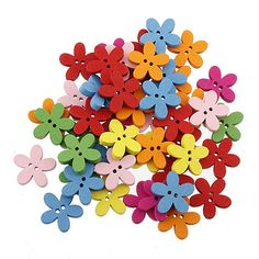 New projetado 100 pcs flor colorida natator DIY botões de madeira costura Craft Scrapbooking nova 1OHI 6E13 em Botões de Casa & jardim no AliExpress.com | Alibaba Group