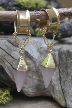 Gorgeous Gauged Earrings made from Rose Quartz. Huge Selection of Unique plugs…