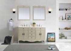 One Allium Way Genevieve 60 Double Bathroom Vanity Set Base Vanity Cabinet, Single Bathroom Vanity, Vanity Set, White Bathroom, Master Bathroom, Master Baths, Double Bath, Double Vanity, Bath Vanities
