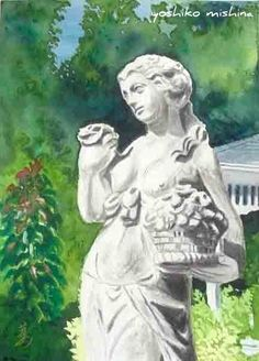 """a statue at the wellers carriage house -2  watercolor, 8"""" x 11""""  2011 © Yoshiko Mishina"""