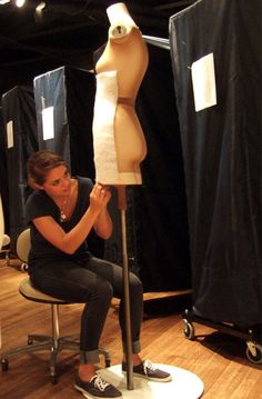 Costume Preparator Emma Denny began by covering a mannequin body with a nylon stocking. She then stitched on padding made from cotton fiber. Racks of garments are visible behind her. Chicago History Museum, Museum Exhibition, Nylon Stockings, Sewing Techniques, Conservation, Fiber, Archive, Career, Bodycon Dress