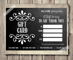 gift card printable digital gift certificate photoshop template chalkboard chalk style gift ca - Free Printable Photography Gift Certificate Template