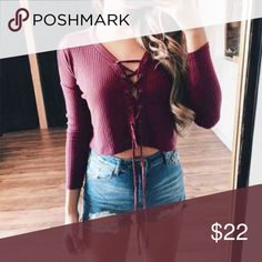 ❤LAST ONE! Burgundy wine sexy, trendy, lace up top Brand new! Burgundy wine lace up top! So cute & trendy!!  Size S. So versatile!! Sexy!! So soft. Wear with jeans, pants, shorts, or a skirt!! Tops Crop Tops