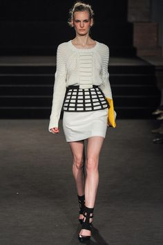White knit, white leather and a black futuristic peplum by Sass & Bide | Fall 2013 Ready-to-Wear Collection | Style.com