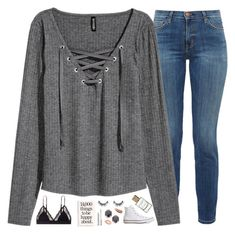 """""""missing him was dark grey all alone"""" by pineapple5415 ❤ liked on Polyvore featuring Current/Elliott, H&M, LoveStories, Velour Lashes, Kendra Scott, Converse and tarte"""