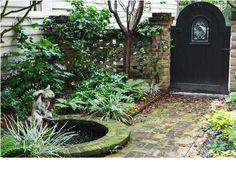side yard gate and garden Backyard Retreat, Ponds Backyard, Garden Pool, Water Garden, Shade Garden, Seiten Yards, Charleston Gardens, Water Features In The Garden, Garden Gates