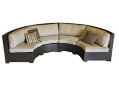 Curved Wicker Sofa Sectional Two Piece Set with Antique Beige Sunbrella Fabric