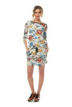 Rochie multicolora din bumbac RN151 -  Ama Fashion Cover Up, Floral, Casual, Dresses, Fashion, Vestidos, Moda, Fashion Styles, Flowers