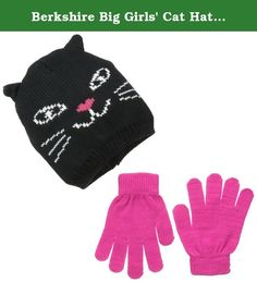 Berkshire Big Girls' Cat Hat and Glove Set, Black/Pink, One Size. Cat hat and glove set is the best way to stay warm in the cold of winter while being fashionable. This set will have every kid looking amazing while staying warm.