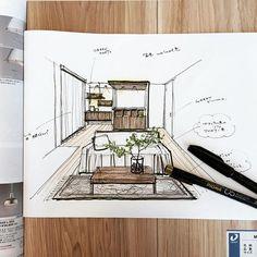 新色床の家具プランに悩む悩む。ベルギーラグ、安いのあればいいな。 #スケッチ #ラフプラン #内観パース #建築パース #手描きパース #funitureplan #sketch #MYフロア #DAIKEN #ペカン