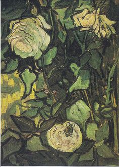 masterpiecedaily: Vincent van Gogh,  Wild Roses and Bugs, 1890 #floral #botanical #art #painting