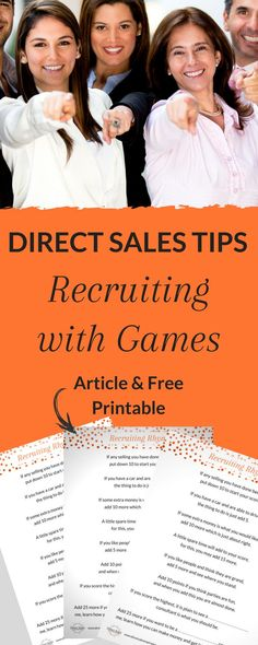 Playing recruiting games is a fab way to engage your guests and create a fun way for them to learn about the business opportunity. It's especially useful for consultants who are new to direct selling or a bit shy. Direct Sales Games, Direct Sales Party, Direct Sales Tips, Direct Selling, Direct Sales Recruiting, Debut Party, Mary Kay Party, Network Marketing Tips, Event Planning Tips