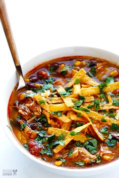 It's Chilis Tortilla soup!  Slow Cooker Chicken Enchilada Soup | gimmesomeoven.com #crockpot Chicken Enchilada Soup, Chicken Enchiladas, Enchilada Sauce, Slow Cooker Soup, Slow Cooker Chicken, Easy To Cook Meals, Tortilla Recipe, Tortellini, Wrap Sandwiches