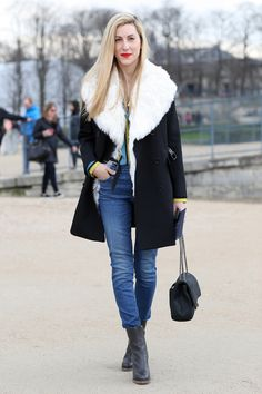 Joanna Hillman in a shearling-lined jacket. #Streetstyle at Paris Fashion Week #pfw