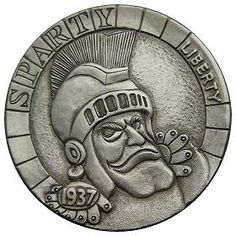 """Sparty"" the Spartan Hobo Nickel carved by Stephen D. Cox - photo from hobonickels"