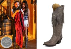 Emily Fields (Shay Mitchell) wears these taupe cowgirl boots with fringe and stud detail in this week's episode of Pretty Little Liars. Pretty Little Liars Seasons, Cargo Vest, Emily Fields, Shay Mitchell, Fringe Boots, Cream Sweater, Cowgirl Boots, Season 4, Taupe