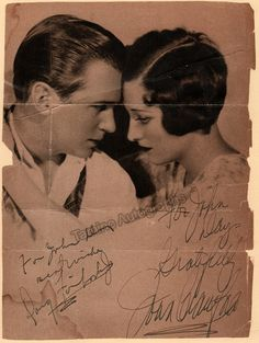 Half-tone photo from a magazine double signed by the great American actress and dancer Joan Crawford (1904-1977) and her first husband (1929-33), American actor Douglas Fairbanks Jr. (1909-2000). Size