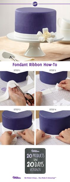 These new patterned fondant ribbons are 1 in. wide and easy to apply in minutes — just unroll, cut, separate and apply with a damp brush. Not only is it easy to wrap around a cake, it's also easy to form into loops for a bow with an amazing design!
