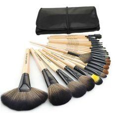 Wood Black 32Pcs Kit Brush Lot Makeup Brushes Professional Cosmetic #MakeUp Set