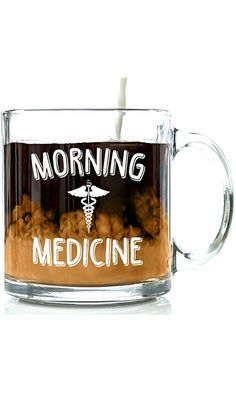 Morning Medicine Funny Glass Coffee Mug 13 oz - Best Birthday Gifts For Men and Women, Him or Her, Mom or Dad from Son or Daughter - Unique Christmas Present Idea For Coworker, Boss, Doctor, Nurse