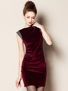 Red Sleeveless Velvet Bodycon Dress
