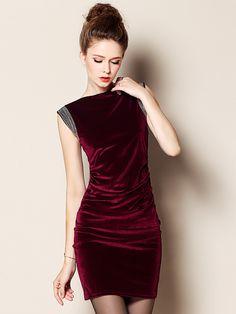Red Sleeveless Velvet Bodycon Dress