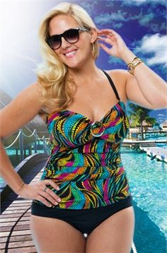 904e2c7ddc7 Women s Plus Size Swimwear - Always For Me Chic Prints Santiago Twist  Strapless Swimsuit -  89.00