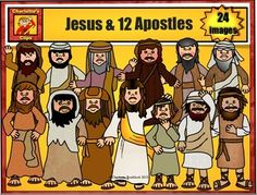Brand New 2015 12 Apostle clip art set includes:Simon PeterAndrewJamesJohnPhilipBartheMatthewThomasJames son of AlphaeusThaddaeusSimon the Zealot Judas IscariotJesusThis set was an updated version of the free set, which was one of my first projects. This set is completely redrawn with some new characters.