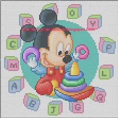 Mimi Y Mickey, Baby Mickey, Cross Stitch Charts, Cross Stitch Patterns, Crochet Patterns, Mickey Mouse Characters, Stitch Cartoon, Baby Mouse, Disney Crafts