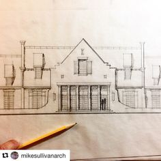 Home Design Drawings One of our favorite designs and sketch by Architecture Drawings, Architecture Plan, Residential Architecture, Architecture Details, French Architecture, Exterior Design, Interior And Exterior, Cottage Design, House Design