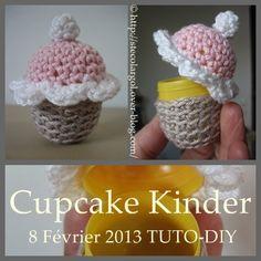 Cupcake au crochet avec un Oeuf Kinder -Tuto DIY