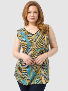 Scalloped Printed V-Neck Top by Spruce  Sage,Available in sizes 10/12,14/16,18/20,22/24,26/28 and 30/32