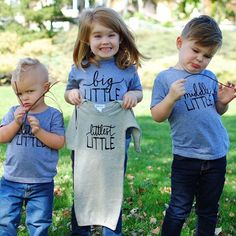 Matching family tees - Little Faces Apparel. Pregnancy announcement baby gown, big brother tees, big sister announcement.