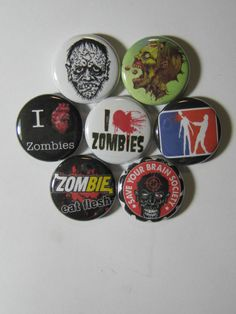 """zombies 7 pins buttons badges 1"""" diameter warning caution i love"""
