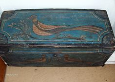 Top view of blue chest with birds by Steve Shelton. ...~♥~