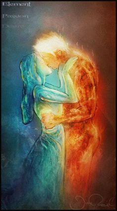 Forbidden love of ~ JRul on deviantART - Maria Rhodes - Illustration Art Dessin, Twin Flame Love, Twin Flames, Flame Art, Forbidden Love, Fire And Ice, Yin Yang, Erotic Art, Fantasy Art